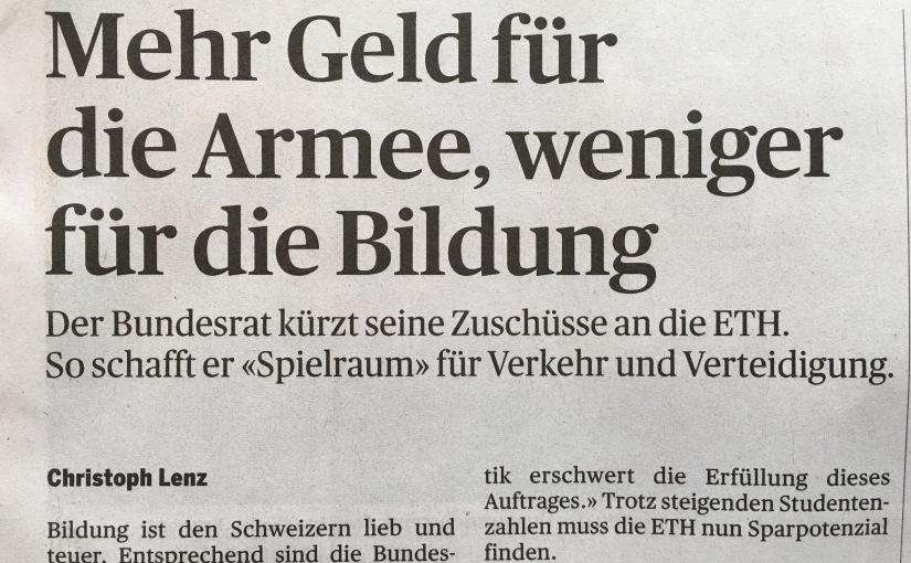 Geld für Militär statt Bildung in derSchweiz